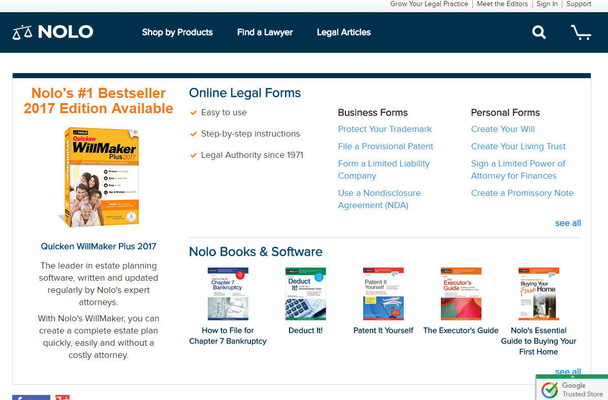 Incfile vs legalzoom vs nolo legal services compared one of the main products through nolo is called the quicken willmaker plus there are new versions of it available just about every year you can also make solutioingenieria Choice Image
